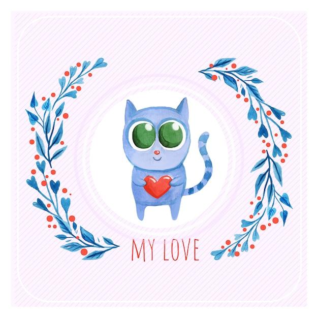 Leuke kat liefde achtergrond Premium Vector