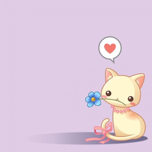Leuke kat met blauwe bloemvector Premium Vector