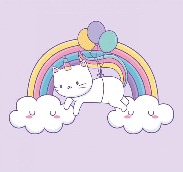 Leuke kat met regenboogstaart en ballonnen helium kawaii karakter Premium Vector