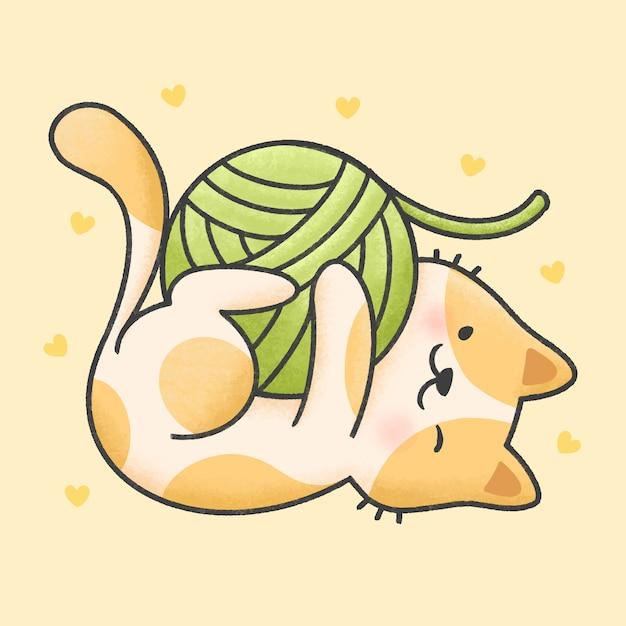 Leuke kat spelen met garen cartoon hand getrokken stijl Premium Vector