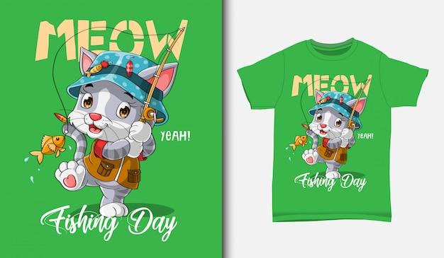 Leuke kat visserijillustratie met t-shirtontwerp, getrokken hand Premium Vector