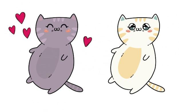 Leuke katjes in kawaiistijl van japan. de kat op wit wordt geïsoleerd dat Premium Vector