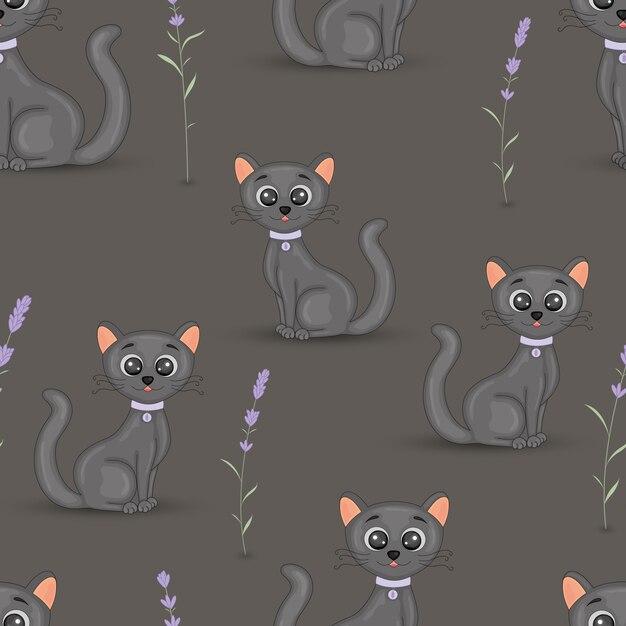 Leuke katten met het kraag kleurrijke naadloze patroon met lavendel. cartoon vector behang voor stof, laptops, notebooks. Premium Vector