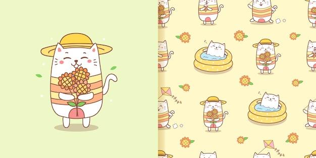 Leuke kattenbeeldverhaal die zonnebloemen voor de zomer houden. naadloos patroon. Premium Vector