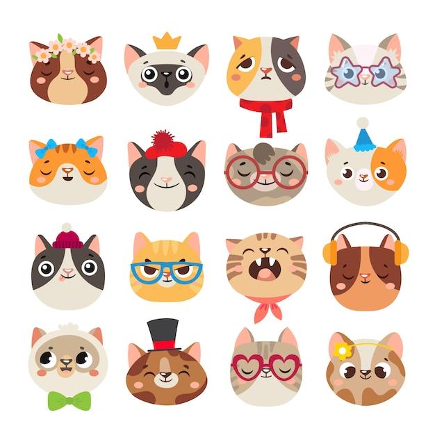 Leuke kattenhoofden. kattensnuit, binnenlands katgezicht die hoed, sjaal en kleurenpartijglazen dragen geïsoleerde beeldverhaalreeks Premium Vector