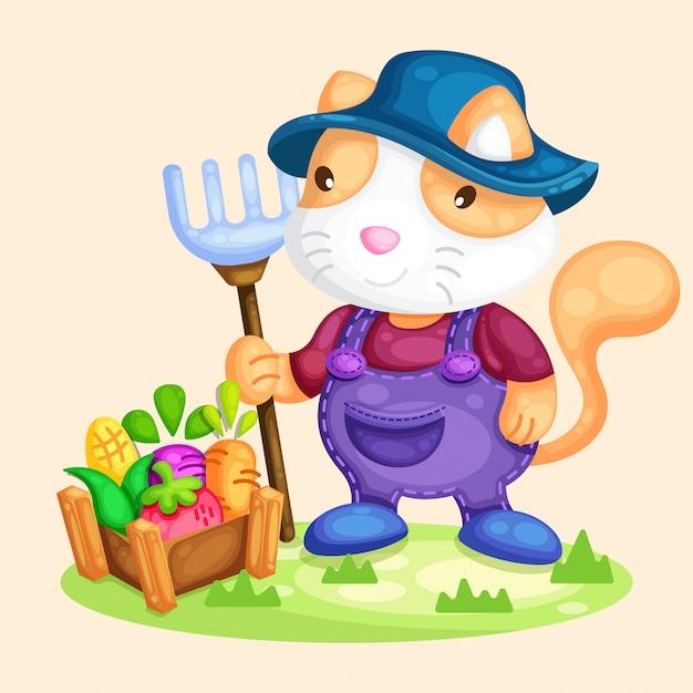 Leuke kattenlandbouwer die plantaardige illustratie oogsten Premium Vector