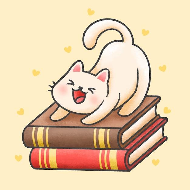 Leuke kattenzitting op een stapel van de getrokken stijl van het boekenbeeldverhaal hand Premium Vector