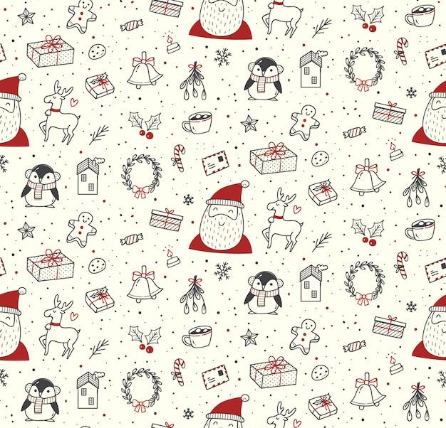 Leuke kerst doodles naadloze patroon Premium Vector