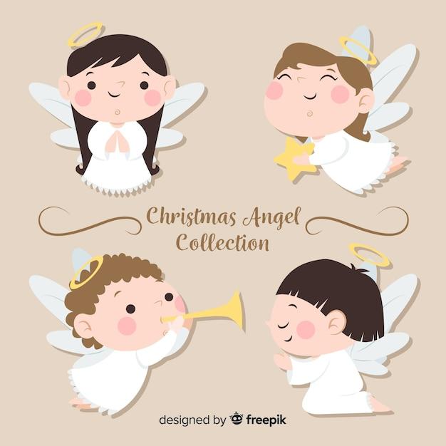 Leuke kerst engel collectie in platte ontwerp Gratis Vector
