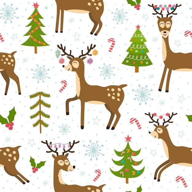 Leuke kerst herten naadloze patroon. winter achtergrond met grappige rendieren. Premium Vector