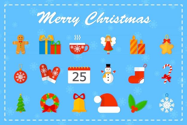 Leuke kerst icon set. collectie van nieuwe jaar spullen met snoep en boom, cadeau en bel. vrolijk kerstmisconcept. illustratie Premium Vector
