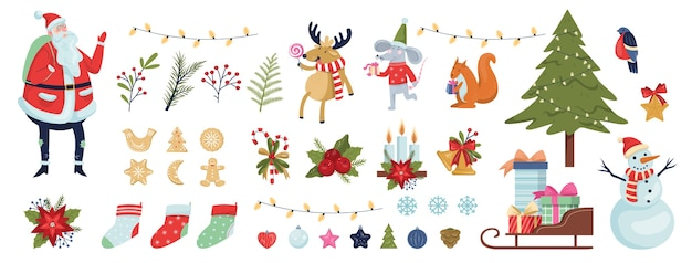 Leuke kerst icon set. verzameling van nieuwjaarsdecoratiespullen. kerstboom, cadeau, klokken, gemberbrood. kerstman in rode kleren. raindeer, nieuwjaarsrat en eekhoorn. illustratie Premium Vector
