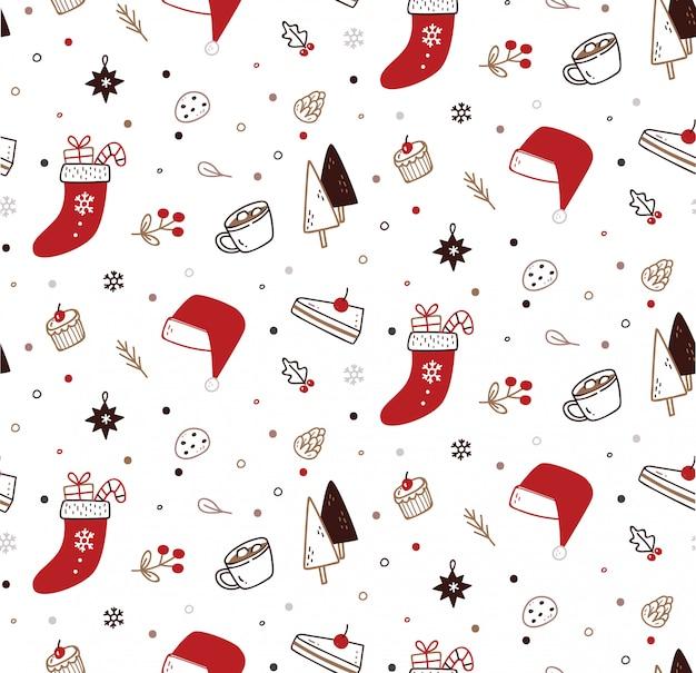 Leuke kerst naadloze patroon in doodle stijl Premium Vector