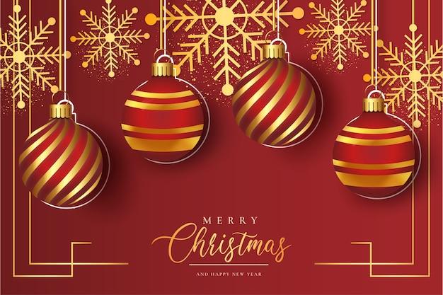 Leuke kerst rode achtergrond met realistische kerstballen sjabloon Gratis Vector