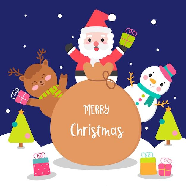Leuke kerst tekenset met santa tas Premium Vector