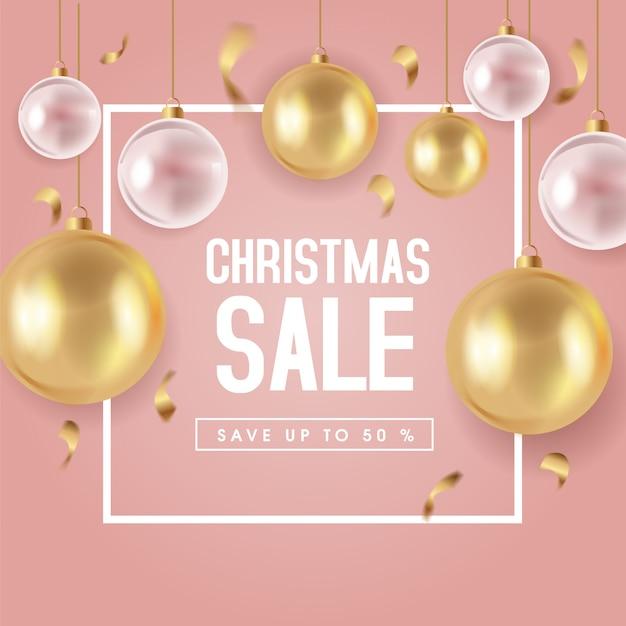 Leuke kerst verkoop sjabloon voor spandoek Premium Vector