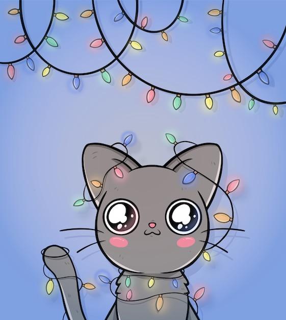 Leuke kerst wenskaart met kat Gratis Vector