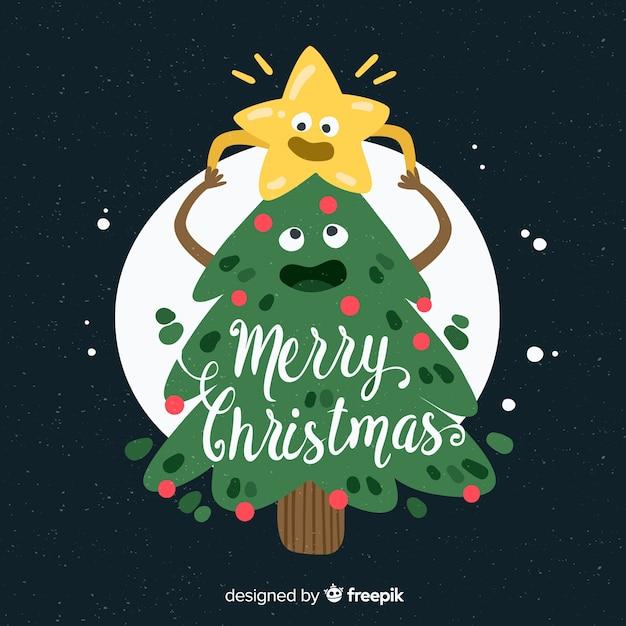 Leuke kerstboom en ster achtergrond Gratis Vector