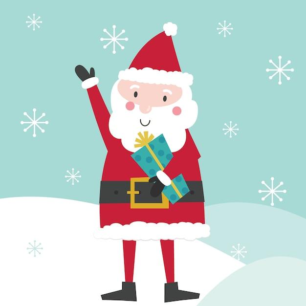 Leuke kerstman brengt kerstcadeau. illustratie Premium Vector