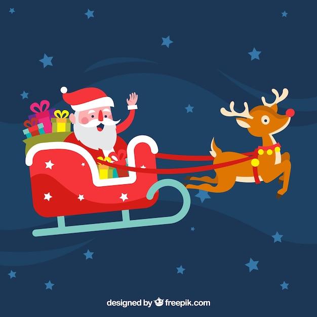 Spiksplinternieuw Leuke kerstman in zijn slee Vector | Gratis Download YP-79