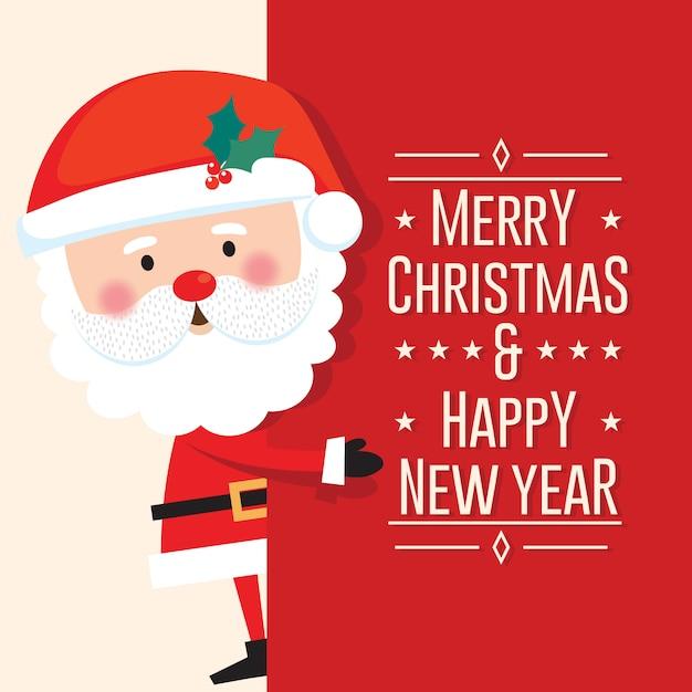 Leuke kerstman met prettige kerstdagen en gelukkig nieuwjaar brief op rode achtergrond Premium Vector