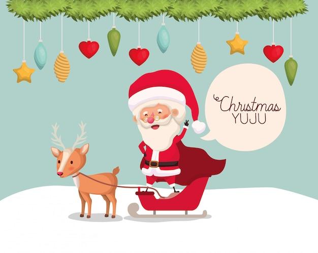 Leuke kerstman met rendier karakter Gratis Vector