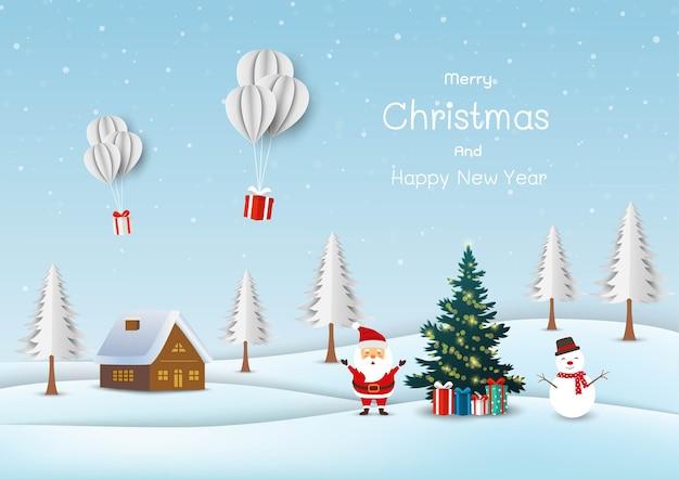 Leuke kerstman met sneeuwpop gelukkig op sneeuw dorp achtergrond Premium Vector