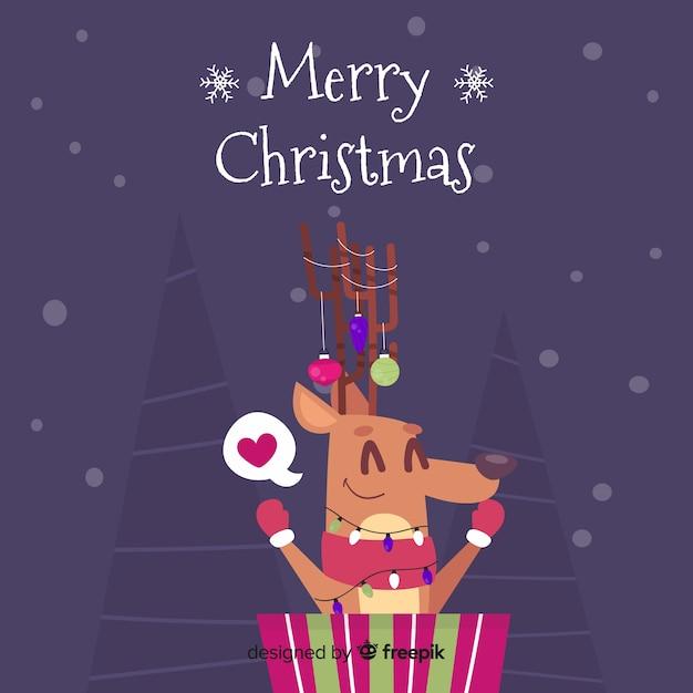 Leuke kerstmis animales achtergrond Gratis Vector