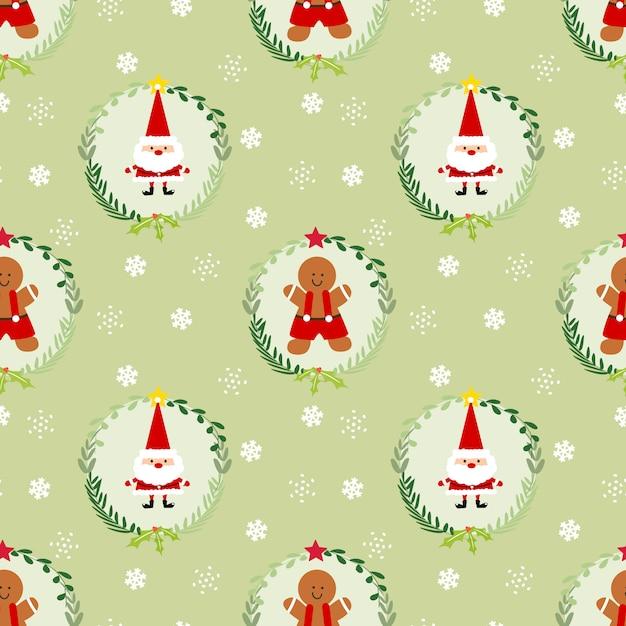 Leuke kerstmis-peperkoekmens en kerstman naadloos patroon. Premium Vector