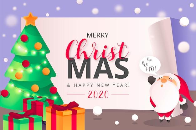 Leuke kerstmisachtergrond met kerstmankarakter Gratis Vector