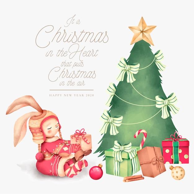Leuke kerstmisachtergrond met mooi karakter Gratis Vector