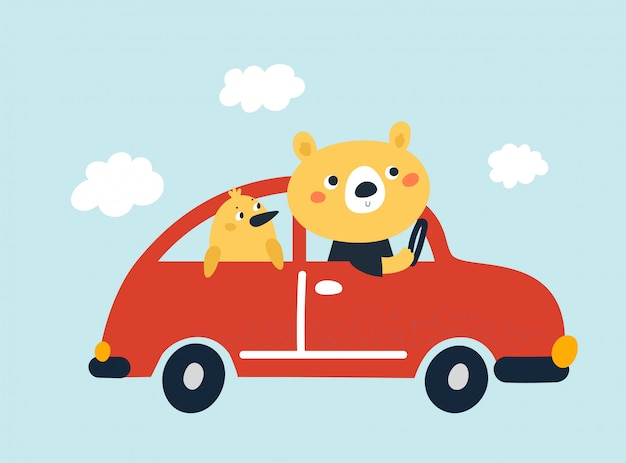 Leuke kinderachtige babybeer en chique vogel gaan op avontuur met de auto Premium Vector