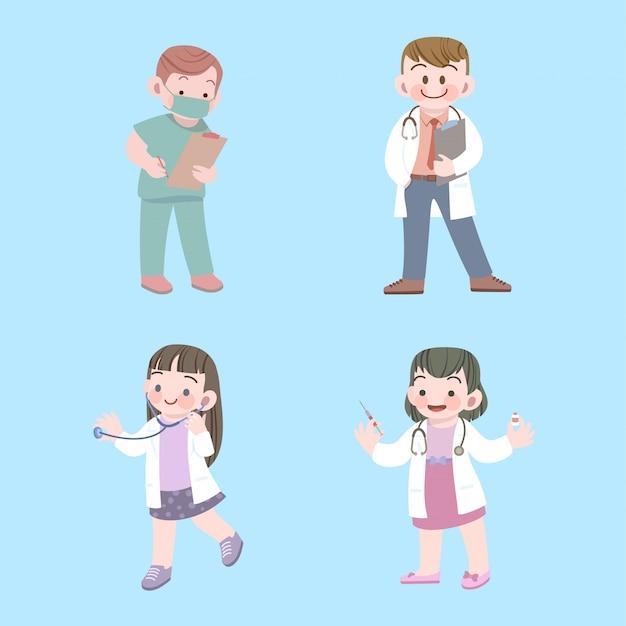 Leuke kinderen arts en verpleegkundige baan collectie met stethoscoop Premium Vector