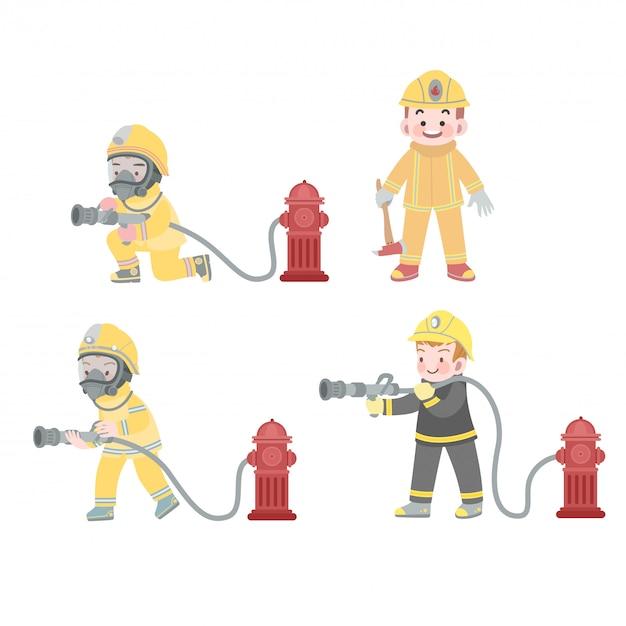 Leuke kinderen baan brandweerman in actie met hydrant-collectie Premium Vector