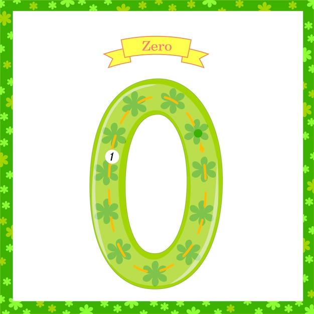 Leuke kinderen flashcard nummer één tracing met nul voor kinderen die leren tellen en schrijven. het leren van de cijfers 0-10, flash cards, educatieve voorschoolse activiteiten, werkbladen voor kinderen Premium Vector