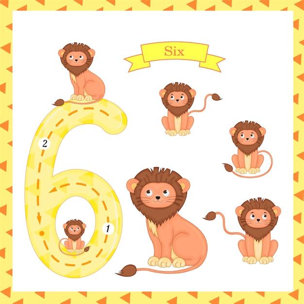 Leuke kinderen flashcard nummer zes tracing met 6 leeuwen Premium Vector