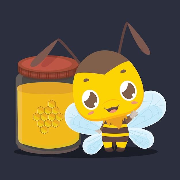 Leuke kleine bij die zich naast een kruik honing bevindt Premium Vector