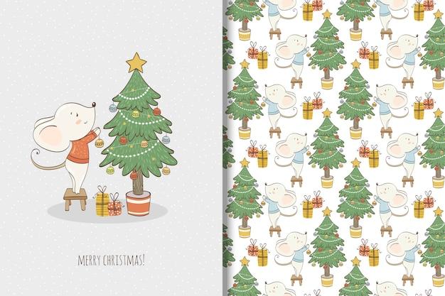 Leuke kleine muisillustratie. kerstkaart en naadloos patroon Premium Vector
