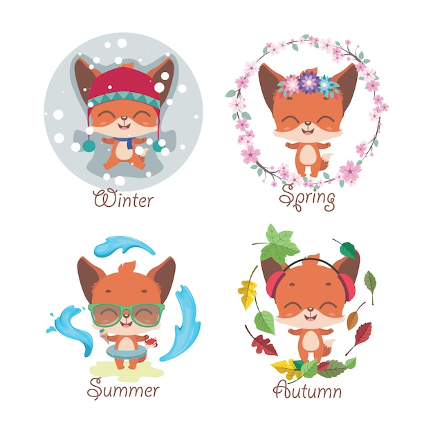 Leuke kleine vos en vier seizoenen Premium Vector