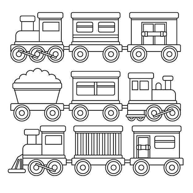 Leuke kleuren voor kinderen met treinen Gratis Vector