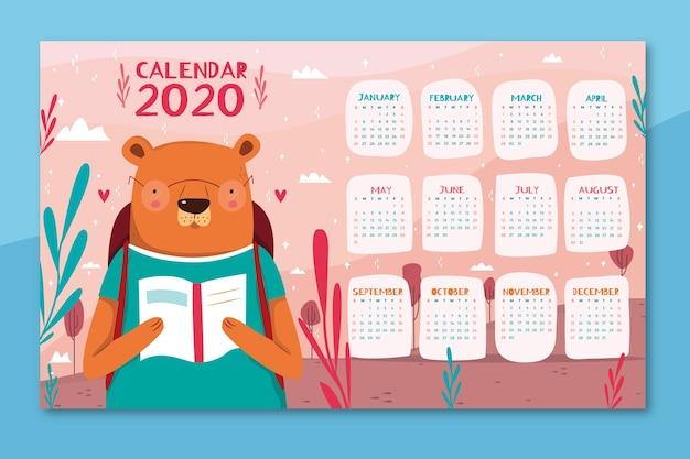 Leuke kleurrijke kalender Gratis Vector