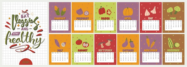 Leuke kleurrijke kalender. Premium Vector
