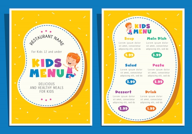 Leuke kleurrijke kindermaaltijd menusjabloon Premium Vector
