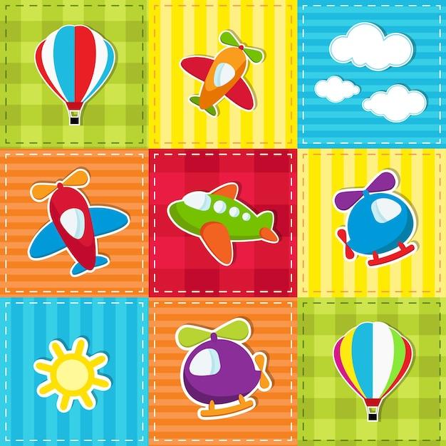 Leuke kleurrijke patchwork met speelgoedluchttransport Premium Vector