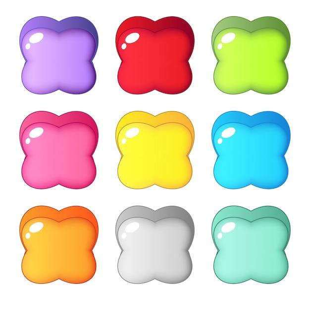 Leuke kleurrijke snoep vorm vier blad. Premium Vector