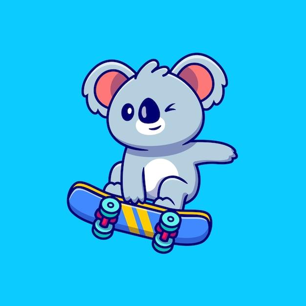 Leuke koala die skateboard cartoon spelen Premium Vector