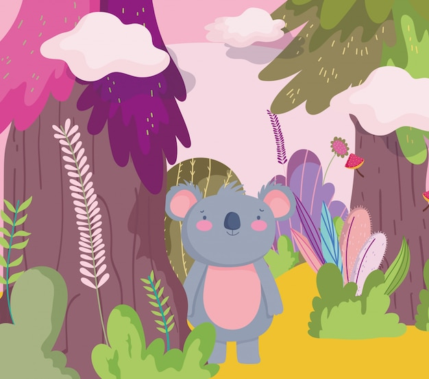 Leuke koala dierlijke cartoon karakter bos gebladerte natuur Premium Vector