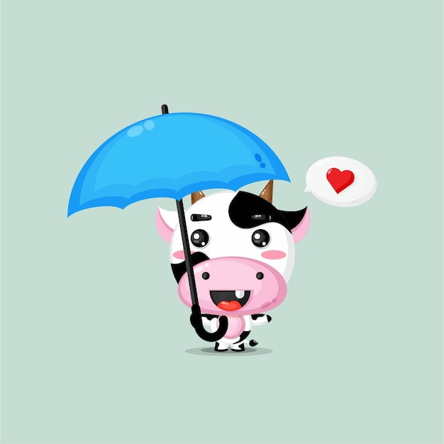 Leuke koe die een paraplu draagt Premium Vector