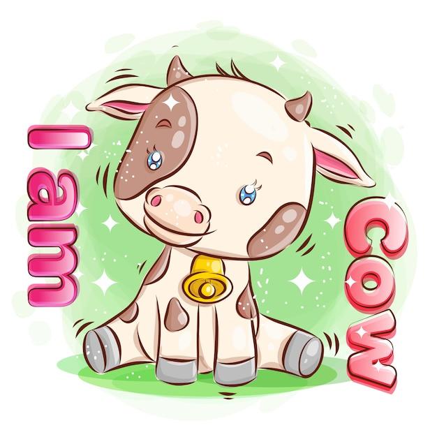Leuke koe zit op de grond met gelukkige glimlach. cartoon afbeelding. Premium Vector