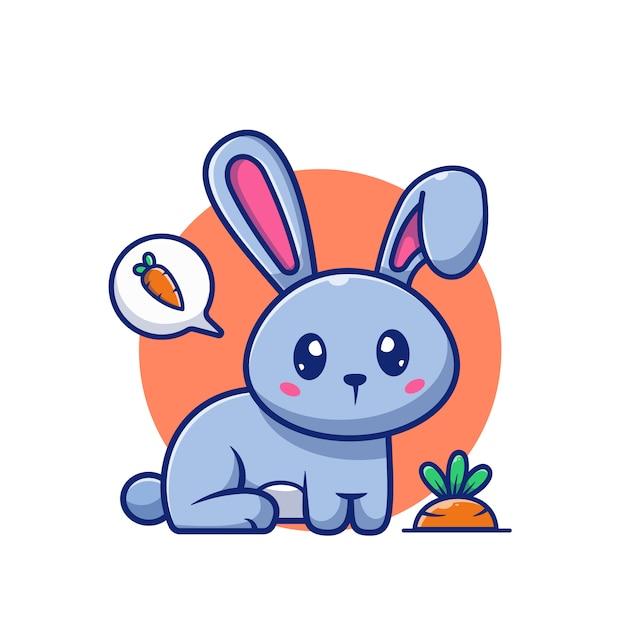 Leuke konijn en wortel pictogram illustratie. bunny logo mascotte stripfiguur. animal logo concept wit geïsoleerd Premium Vector